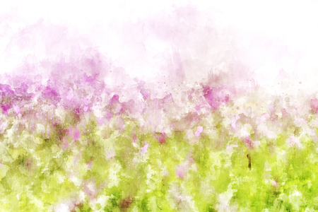 Abstract pink flower on grunge and splashed watercolor background, digital watercolor painting Banco de Imagens