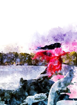 actress: Long hair woman looks like actresses in Chinese kung fu movie, digital watercolor painting