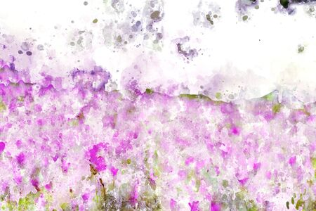 Abstract pink flower on grunge and splashed watercolor background, digital watercolor painting Stock fotó - 82744797