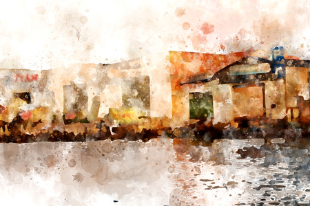Cityscape watercolor painting on white background with splash of ink, digital illustration