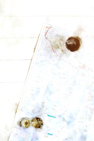 Travel accessories including map, compass and cup of coffee on wooden table, digital illustration
