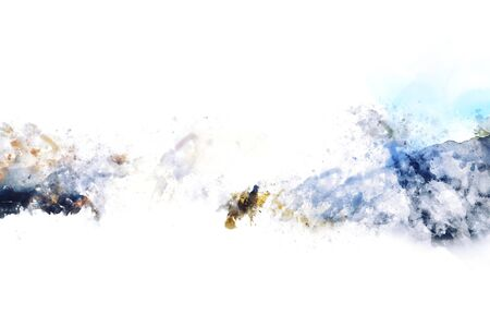 Abstract background watercolor painting in monotone, digital illustration