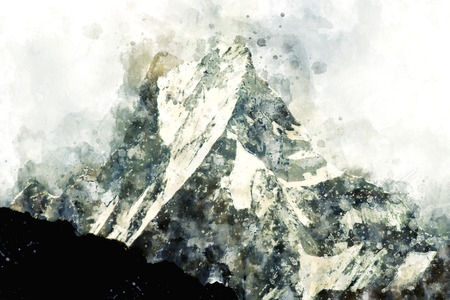 Abstract mountain peak watercolor painting in monotone shade, digital illustration