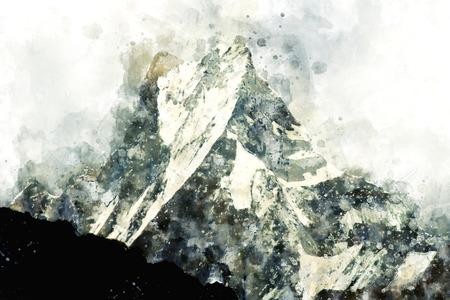 Abstracte berg piekwaterverf het schilderen in monotone schaduw, digitale illustratie