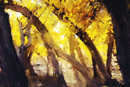 Abstract acrylic painting of colorful forest with yellow leaves in autumn