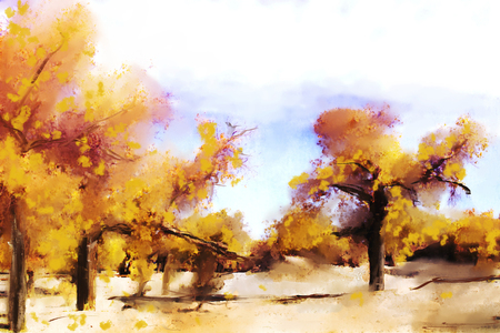 Abstract painting of colorful forest in autumn in warm tone