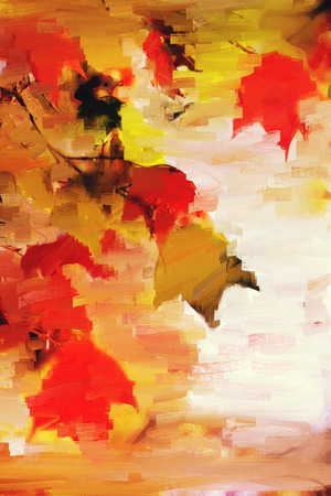 Abstract acrylic painting of maple leaves in autumn Stock fotó