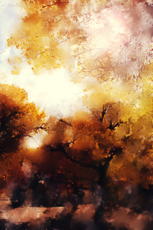 Abstract painting of colorful forest with yellow leaves in autumn Stock fotó