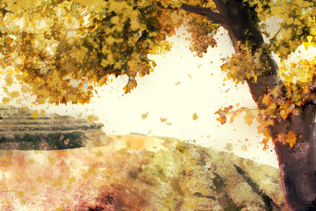 Abstract painting of colorful tree in autumn in warm tone