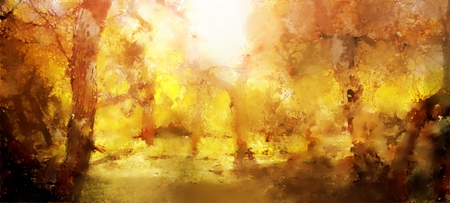 Abstract painting of colorful forest with yellow leaves in autumn Banque d'images
