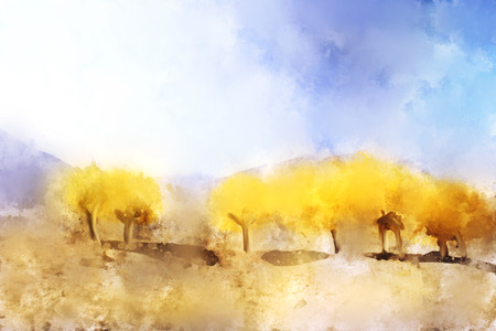 Trees in autumn with yellow leaves, digital watercolor painting
