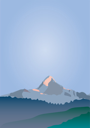 Mountain peak and blue sky illustration