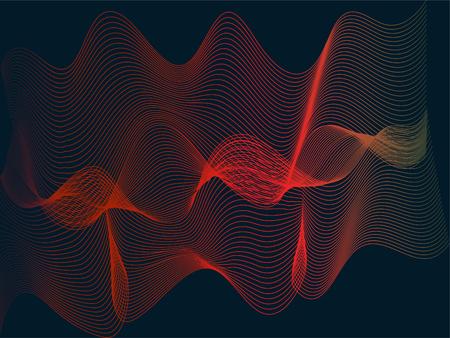 Gradient line waves vector illustration on dark blue background, Minimal design