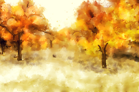 Abstract painting of autumn landscape, yellow shades illustration  Stock fotó