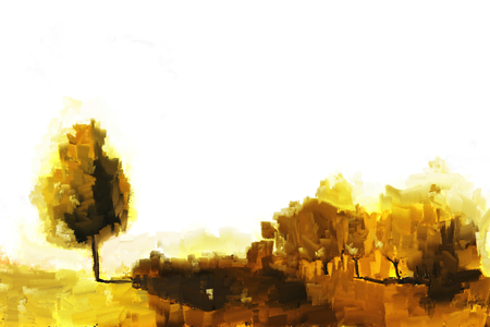 Abstract painting with palette knife of autumn landscape, yellow shades illustration
