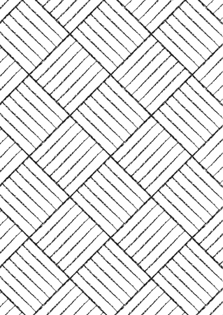 Square patterns with chalk or charcoal texture lines. Black and white background vector