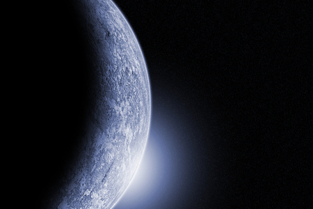 Ice planet in dark space, illustration generated by computer