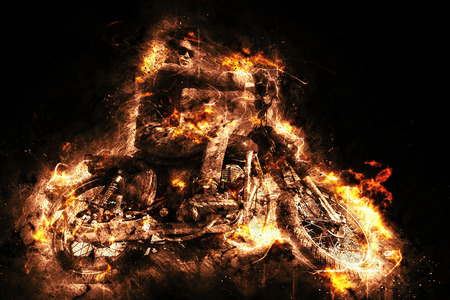 Burning ghost riding a motorcycle. Illustration generated by computer.