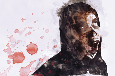 Illustration of male zombie with blood drops.