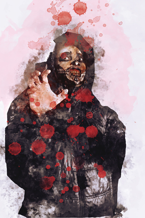 Male zombie or ghost in halloween with blood drops on image.