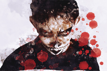 Zombie or ghost in halloween with blood drops on image.
