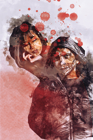 Zombie or ghost in halloween with blood drops on image. Vampire couple illustration. Stock Photo