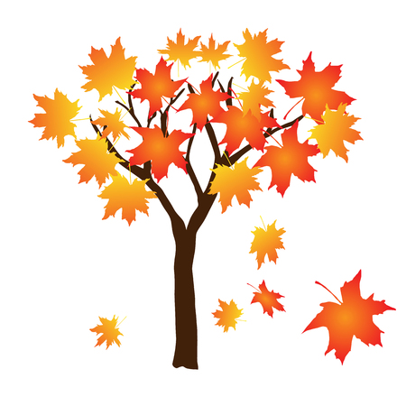 Autumn tree with falling leaves, vector illustration on white background