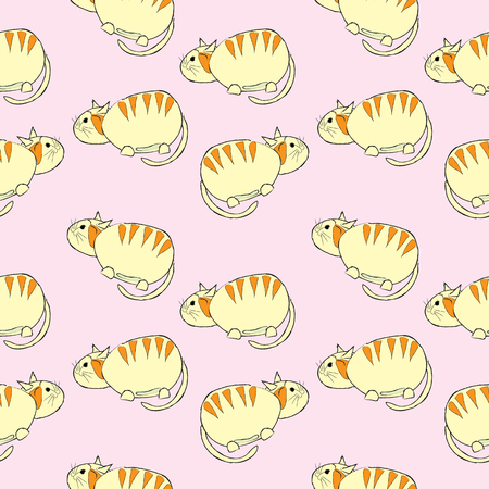 Cute cats seamless pattern vector illustration on pink background