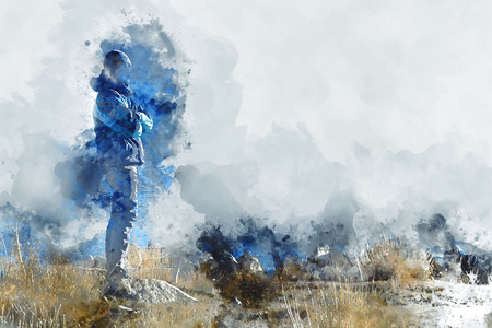 Man standing  in grass field, digital watercolor image