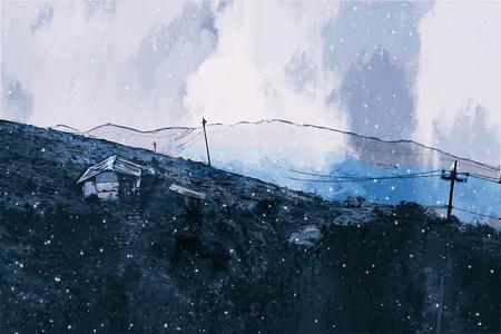 Digital painting of houses in dark tone 写真素材