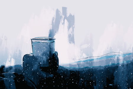 Hand holding cup of coffee, digital painting Banco de Imagens