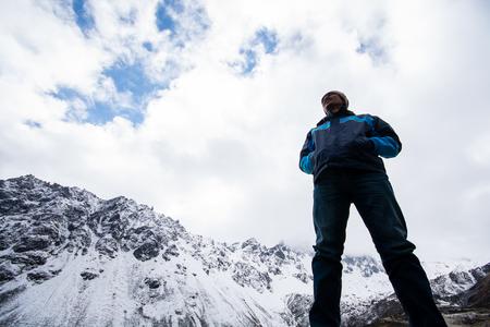 Man standing looking at nature view, Himalaya range in India