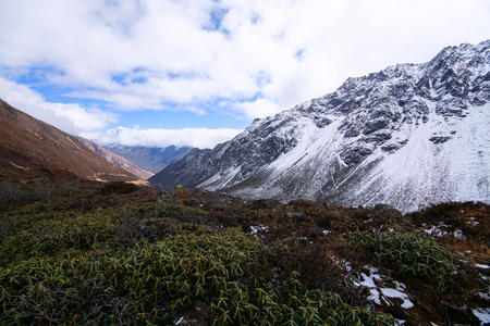 Valley and mountains in beginning of winter in India Stock Photo