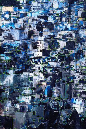 Digital painting of buildings in dark tone, Jodhpur blue city in Rajasthan, India