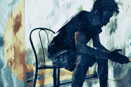 Pittura digitale di un uomo triste che pensa qualcosa nella camera da letto, illustrazione della depressione delle persone