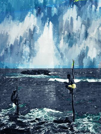 Digital painting of fishermen in sea, fishing culture in Sri Lanka illustration Stock Photo
