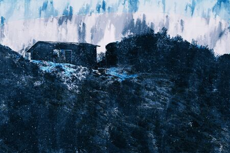 Digital painting of houses in dark tone on hill, illustration for background