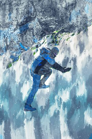 Man climbing ice illustration image, digital painting of hiker, adventure man having fun in nature Banco de Imagens