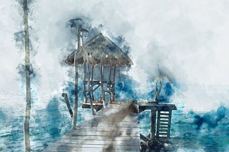 Haven or port in sea in blue shade, digital illustration
