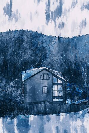 Digital painting of houses in village, remote town in Russia, illustration for background Stok Fotoğraf