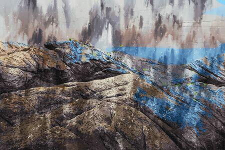 Digital painting of rock at sea, rock illustration image Stock Photo