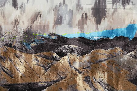 Digital painting of rock at sea, rock illustration image Stock fotó