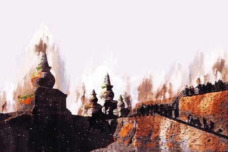 Digital painting of historic building, illustration of historic building for background. It is taken at Inner Mongolia, China.