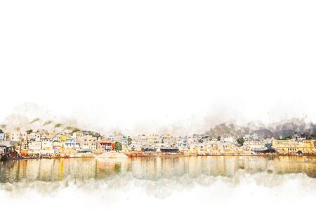 Digital painting of city and lake, illustration of historic building for background. Pushkar Town in Rajasthan, India.