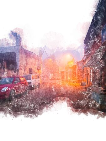 Digital painting of small town in India,  illustration of historic building for background.