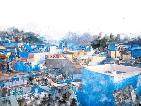 Digital painting of blue city, illustration of historic building for background. Jodhpur City in Rajasthan, India. 스톡 콘텐츠