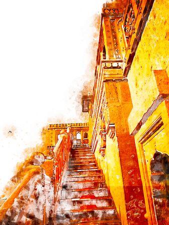 Digital painting of golden city, illustration of building