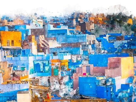 Digital painting of blue city, illustration of historic building