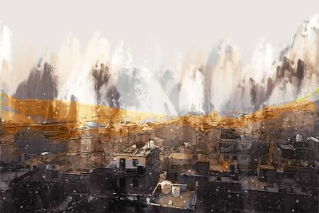 Digital painting of golden city, illustration of historic building for background. Jaisalmer City in Rajasthan, India.