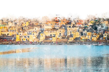 Digital painting of city and lake, illustration of historic building